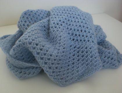 Blue Merino Crocheted Baby Blanket