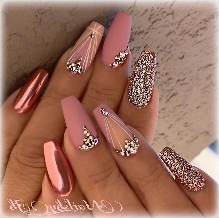 Pink Matte Pink Chrome Rose Gold Glitter Nail Polish With Rhinestones What Color Should I Paint My Nail Nail Designs Summer Quinceanera Nails Summer Nails