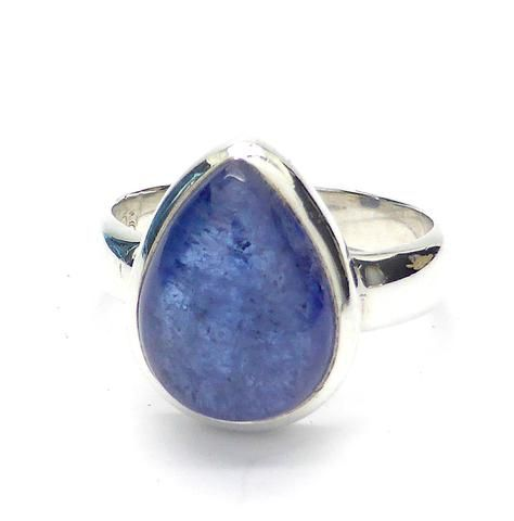Tanzanite Cabachon Tear Shape Ring | 925 sterling Silver | Spritual Stress | Mt Kilimanjaro | Made by Crystal Heart Melbourne Australia since1986