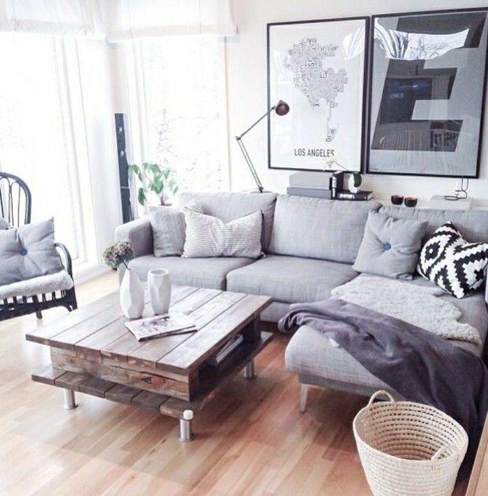 table en palette avec canapé d'angle gris et le canape convertible gris