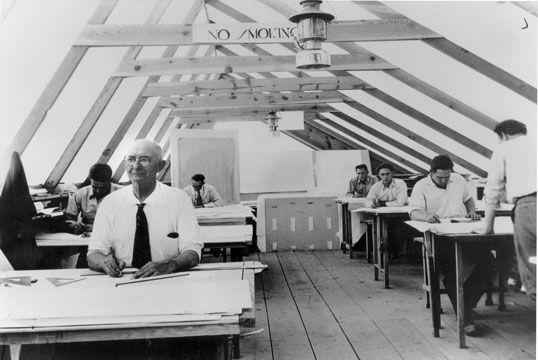 "Drafting studio at Ocatilla Desert Camp, ""Cueball"" Kelly, 1929. Chandler, Arizona  #FrankLloydWright #Chandler"