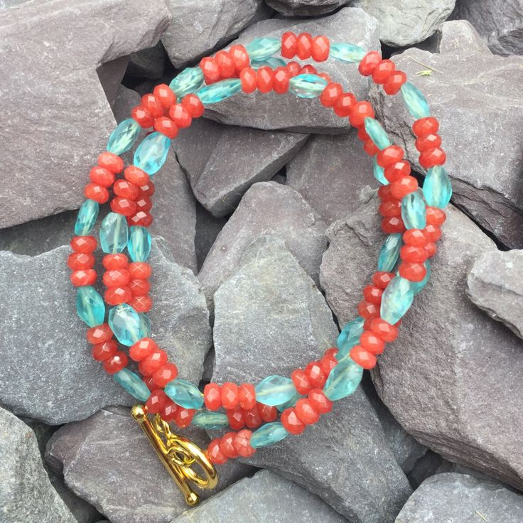 blue apatite and orange carnelian necklace// bright colour necklace//wrapped bracelet// festival jewellery by Orchardbeads on Etsy