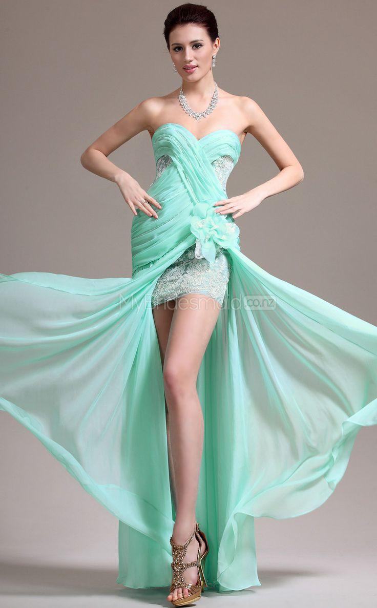 Chiffon Mermaid Sweetheart Floor-length Light Green 81 Ball Dresses(JT799)