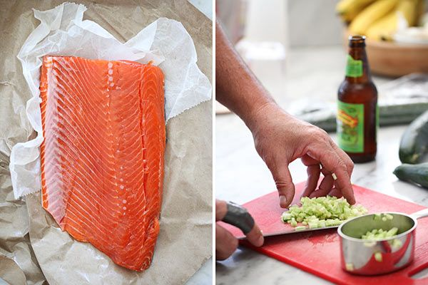 Grilled Salmon Fillet with Cucumber