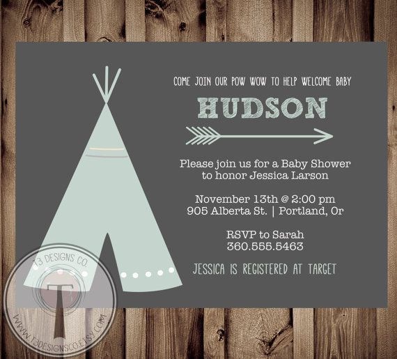 TEEPEE Baby Shower  Invitation, Indian Baby shower Invite, aztec baby shower invite,boy, invitation, Aztec, arrow,  pow wow