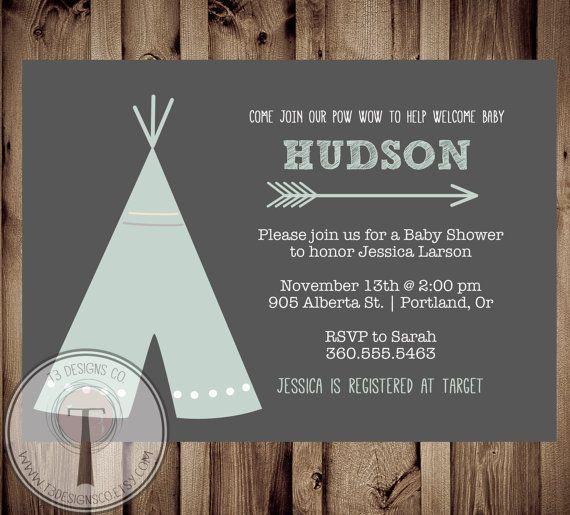 TEEPEE Baby Shower  Invitation, Indian Baby shower Invite, aztec baby shower invite,boy, invitation, Aztec, arrow,  pow wow