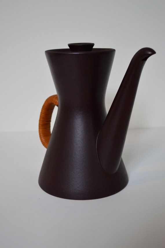 Danish Modern Lidded Teapot with Caning from Gustavsberg Sweden Flameldfast Terma Design  Danish Modern tea pot from maker of note. The manufacturer's mark on the bottom reads Terma Flameldfast. Other Gustavsberg Flameldfast pieces are available and can be bundled as a set.   GalaxieModern.com etsy.com/shop/GalaxieModern 434.846.0077