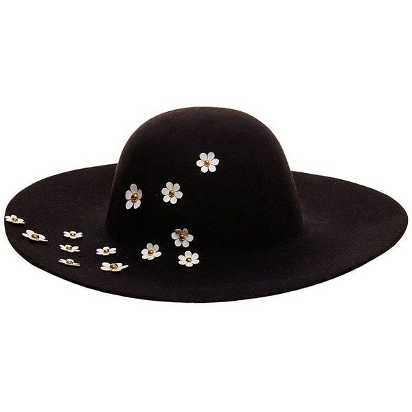 Betsey Johnson Daisy Applique Felt Floppy Hat ($52) ❤ liked on Polyvore featuring accessories, hats, black, floppy brim hat, felt floppy hat, betsey johnson, brimmed hat and floppy hat