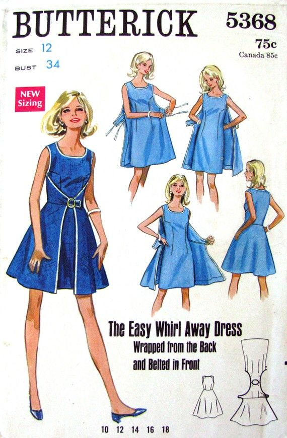 McCalls walk away dress pattern | ... Dress Vintage Pattern Butterick 5368 Easy Whirl Away Dress- Bust 34