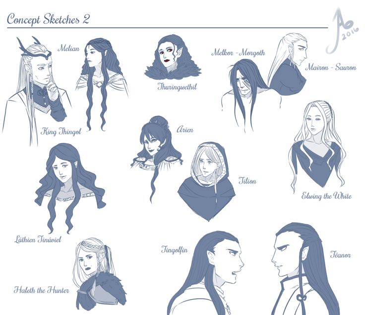 Герои Сильмариллиона  Tolkien Sketches 2 by JayEyBee on DeviantArt