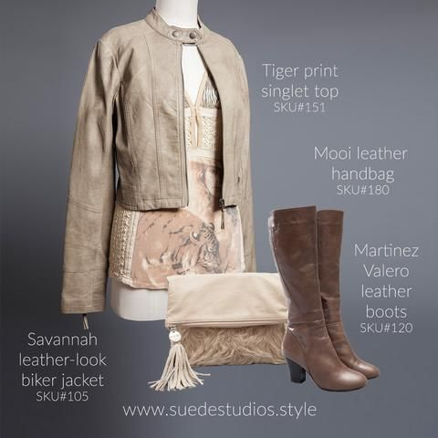 Suede Studios Style: Savannah leather-look biker jacket, tiger print singlet top, Martinez Valero leather boots & Mooi cream leather bag.