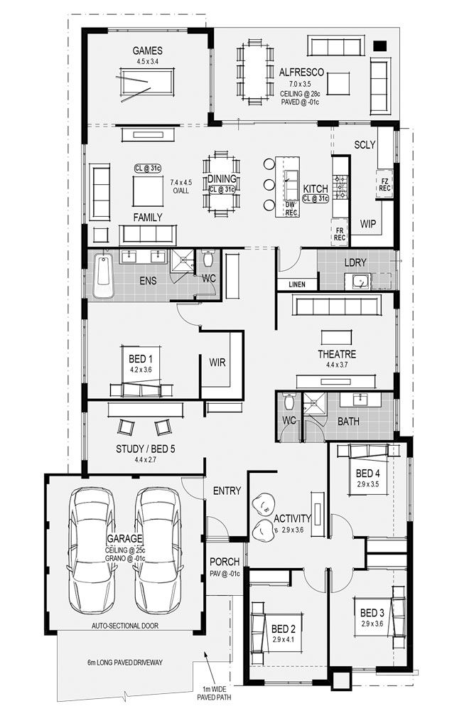 The Naples Floorplan   At HomeGroupWA. (I Like The Top Part Of The Plan:  Kitchen, Dining Room, Living Room, Games Room, Alfresco.
