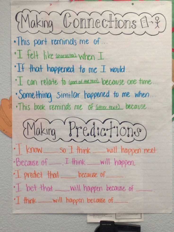 Innovative Kindergarten Classroom ~ Making connections predictions with sentence frames my