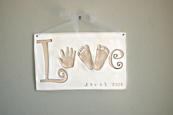 """LOVE"" Sign personalized with child's hand and footprints www.etsy.com/shop/Dprintsclayful"