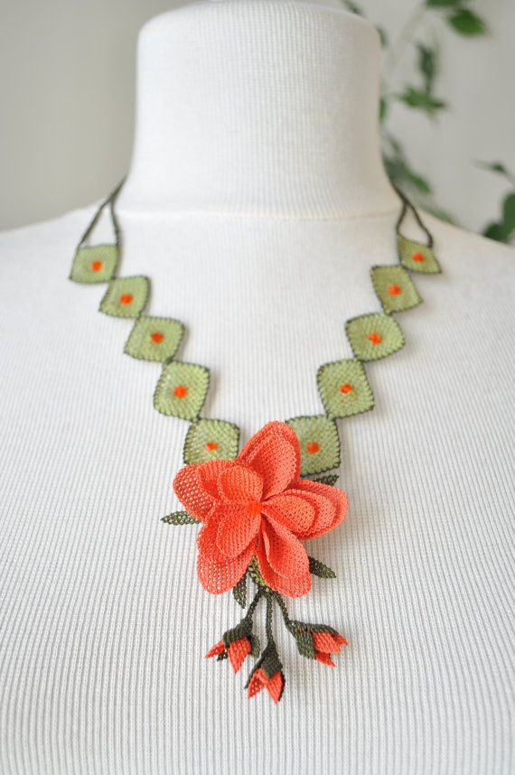 OYA Silk Needle Lace Necklace Hand made Turkish lace by OYASHOP, $65.00