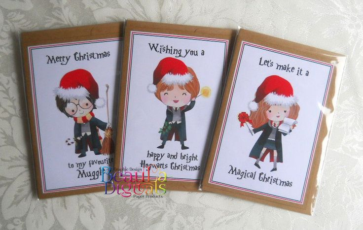 Harry Potter Christmas Greeting  Cards  3 pack - Harry-Ron- Hermoine - 3 pk