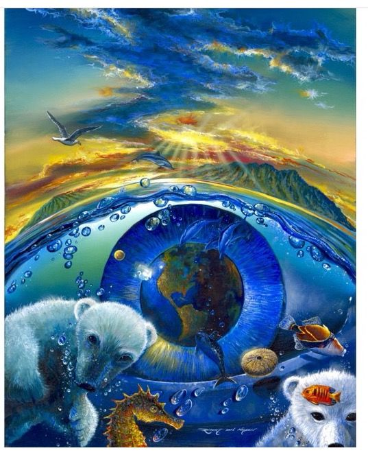 Eye On Survival ROBERT LYN NELSON  2013 24x30 oil/canvas  Environmental surrealism  Environmental protection  Climate Change  Polar Bears  ENDANGERED Species  Art  @robertlynnelson.com