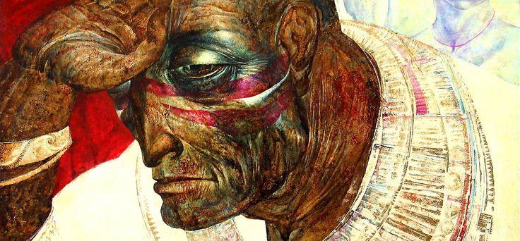 """THE HARP LISTENER. SAUL AND DAVID""  105 x 125 cm, oil on canvas, golden foil (fragment). ""СЛУШАЮЩИЙ ГУСЛИ. САУЛ И ДАВИД""  105 x 125, холст, масло,золотая фольга (фрагмент).  more - http://www.lauren.ru/en.html"