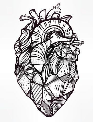 Vector Art : Heart of stone vector illustration.