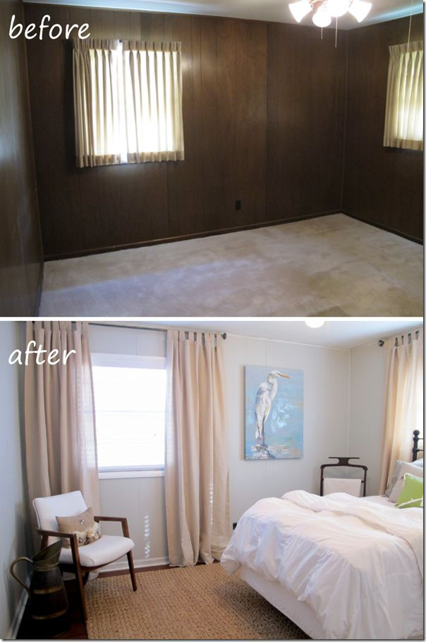 guest bedroom before and after painted paneling hardwood floors jute rug