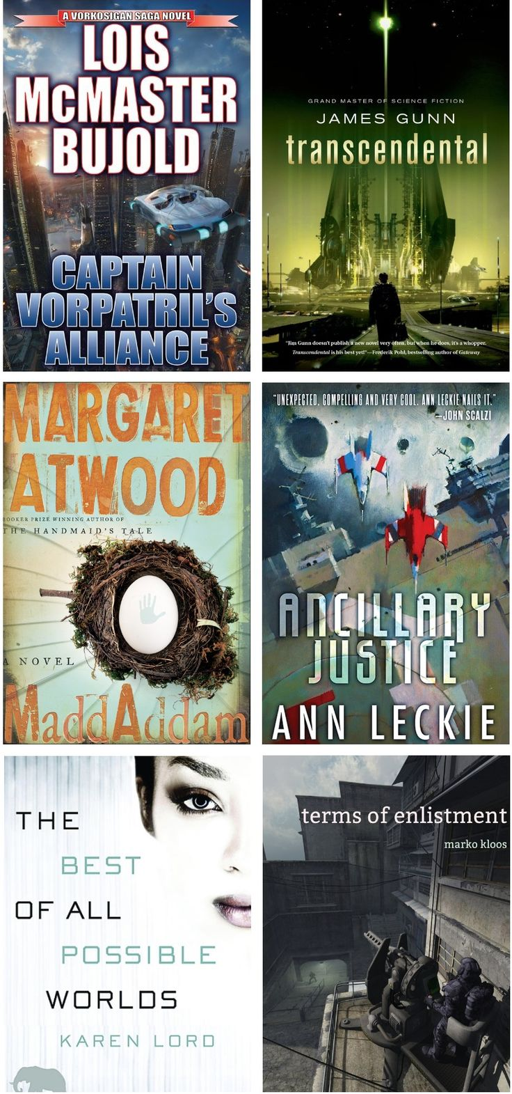 Greatest SciFi Books of 2013 — http://www.buzzfeed.com/mccarricksean/the-greatest-fantasy-books-of-the-year-fjmu?sub=2809670_2105915#.wqznJBLZV1 —  Conservation of Shadows — Abaddon's Gate — Daedulus Incident — Necessary Evil — Great North Road — Data Runner — Parasite — American Elsewhere — Terms of Enlistment — Best of All Possible Worlds — Ancillary Justice — MaddAddam — Trancendental — Captain Vorpatril's Alliance