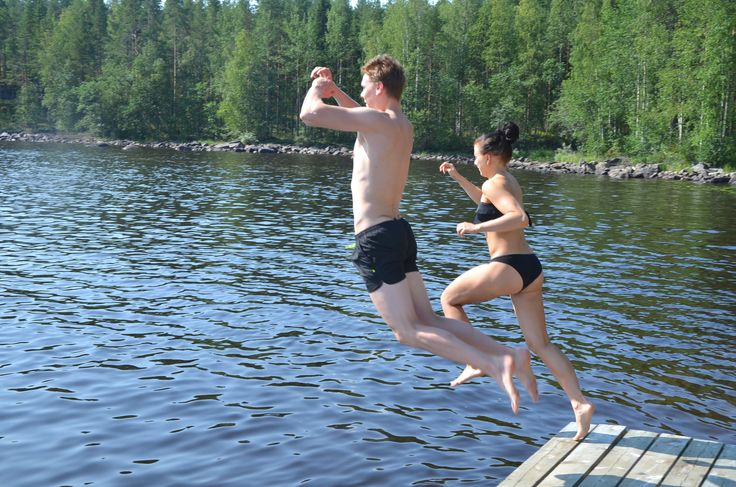 Swimming in Kainiemi Villas