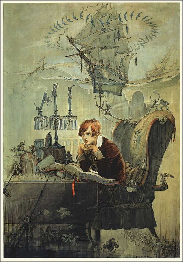 Treasure Island - the boy at the desk is Robert Lewis Stevenson himself.