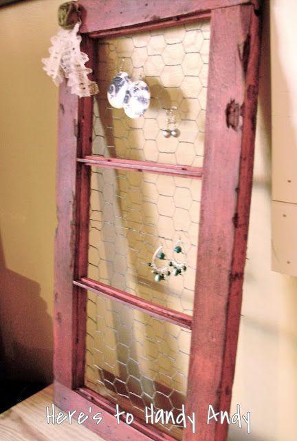 DIY:: Barn Window Jewelry Holder ~    Start with a barn window frame as well as some chicken wire. To finish them off, I added some lace and burlap embellishments. If you have a vintage-y, country-chic decorating style, this country-chic looking jewelry holder is perfect!    How To @  http://herestohandyandy.blogspot.com