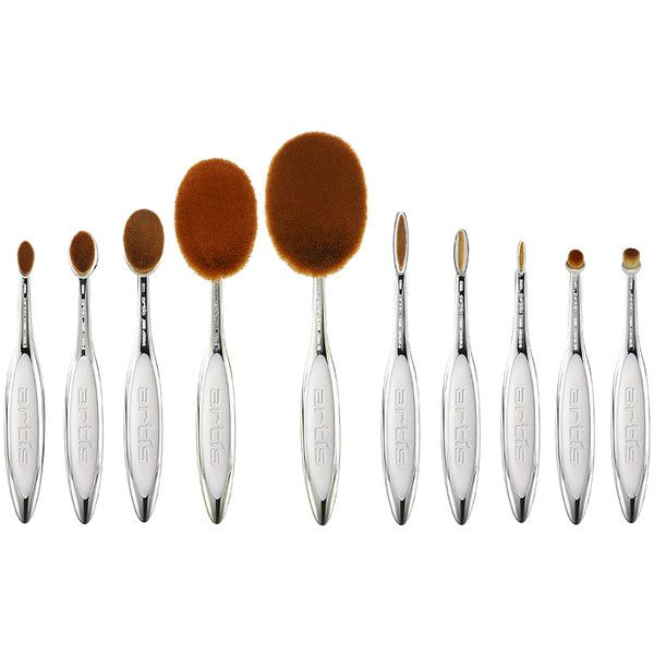 Artis Elite Mirror 10 Brush Set ($365) ❤ liked on Polyvore featuring beauty products, makeup, makeup tools, makeup brushes, beauty, set of brushes, artis, artis makeup brushes and set of makeup brushes