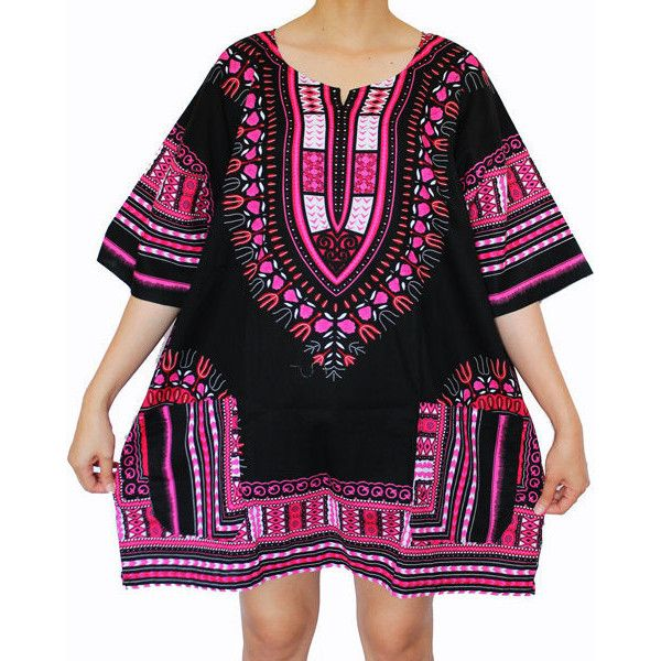 Dashiki Shirt African Dress Tribal Festival Kaftan Style Boho Hippie... ($17) ❤ liked on Polyvore featuring tops, tunics, black, dresses, women's clothing, cotton tunics, short-sleeve shirt, african shirts, cotton shirts and bohemian shirts