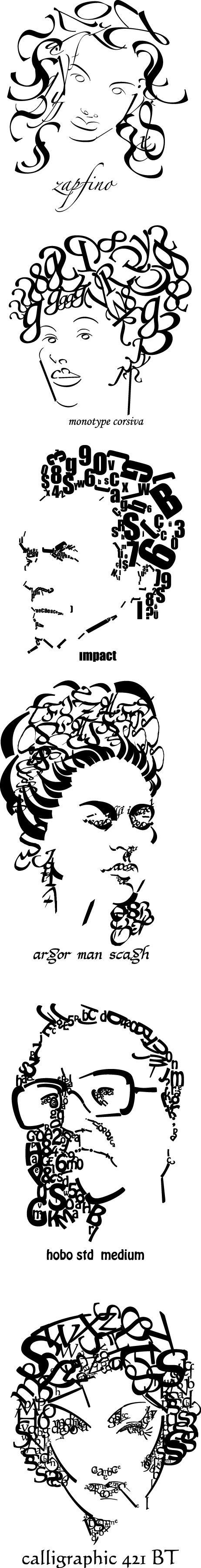 typography portrait by elif danışmaz, via Behance