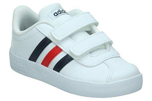 adidas Vl Court 2.0 Cmf I, Chaussures de Gymnastique Mixte Bébé, Blanc/Bleu/Rouge #adidas #Court #Chaussures #Gymnastique #Mixte #Bébé, #Blanc/Bleu/Rouge