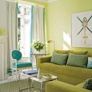 TM Design - living rooms - green sofa, green velvet sofa, green couch, green velvet couch, turquoise chair, turquoise velvet chair, turquoise trim, living room fireplace, blue ceiling, turquoise ceiling, turquoise blue ceiling,