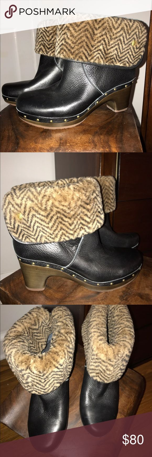 Ugg Lynnea Boots Never worn black leather Ugg Lynnea Boots, 2 1/2 inch heel. Leather and shearling lining. UGG Shoes Winter & Rain Boots