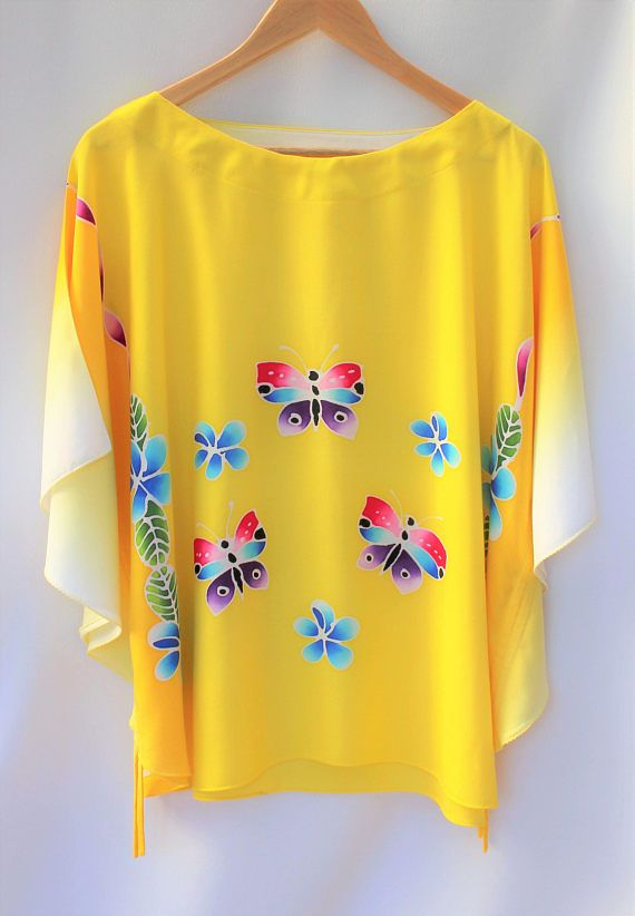 Batwing top loose cotton top yellow top batik top easy