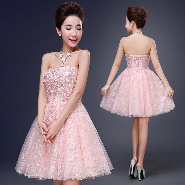 Chérie lumière rose formelle romantique de demoiselle d'honneur robes robes de soirée robe de bal sexy bretelles robe pour les adolescents filles 2016 W2765