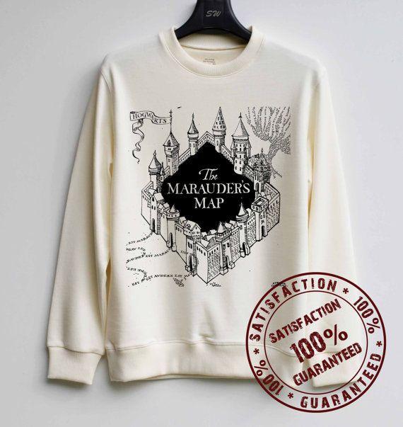 Marauder's Map Shirt Harry Potter Sweatshirt Sweater Hoodie Shirt – Size XS S M L XL - $29.99