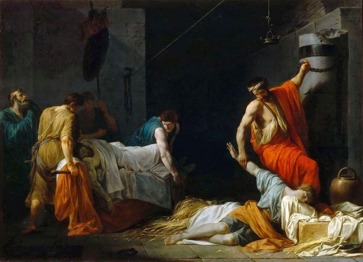 Jean-Francois Pierre Peyron - The Funeral of Miltiades [1782]  #18th #Classic #Jean-Francois #Pierre #Peyron #Painting