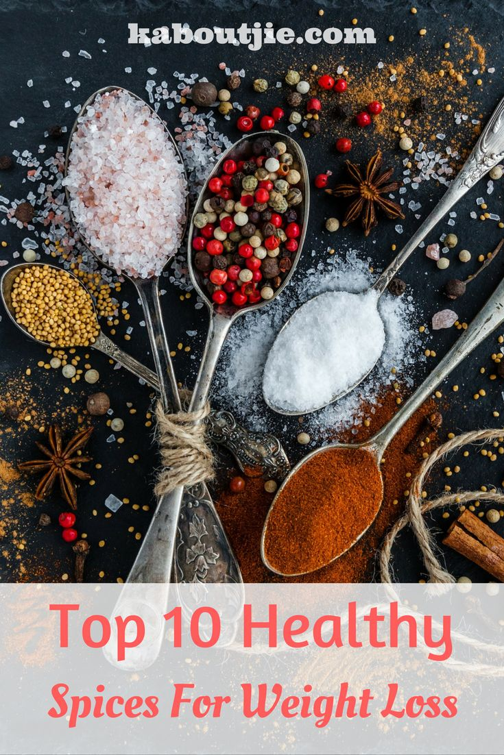 Eating properly to lose weight does not mean you have to eat bland and tasteless food, in fact there are loads of healthy spices that will help you to speed up your metabolism and to lose weight!   Here are 10 Healthy Spices for Weight Loss!  #WeightLoss #WeightLossDiet #SpicesForWeightLoss #HealthySpices #WeightLossSpices