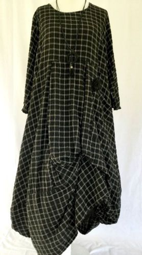 FAB-GERMAN-ZEDD-PLUS-quirky-lagenlook-black-check-parachute-dress-XXL-XXXL