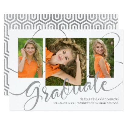 Jubilant Grad Faux Silver Multi Photo Announcement - modern gifts cyo gift ideas personalize