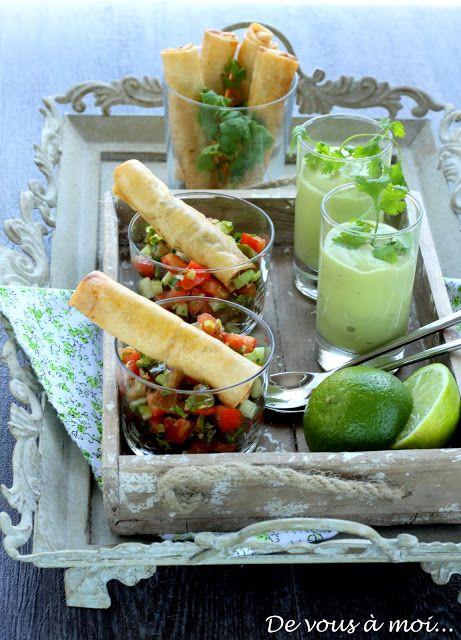 Croustillants de Gambas sur Concassée de Tomates, Smoothie d'Avocat