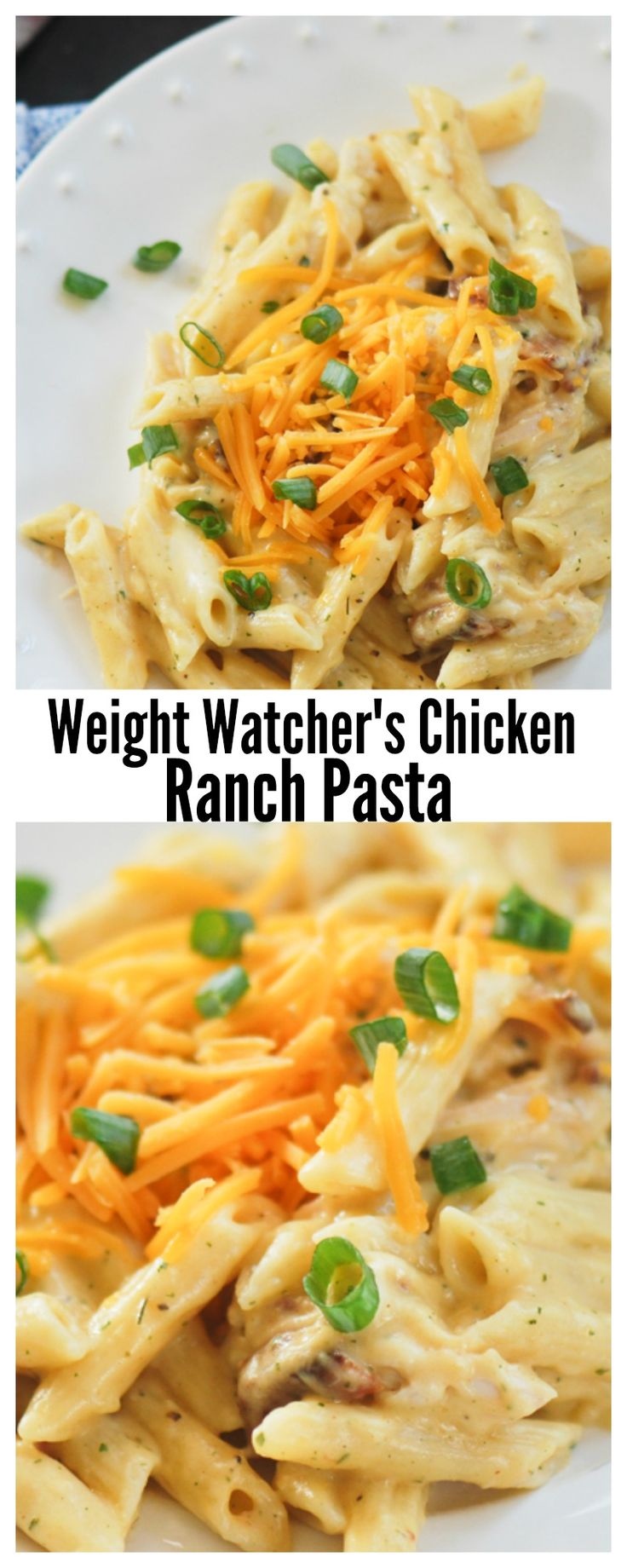 Weight Watcher's Chicken Ranch Pasta - OMG!!! My diet can work with this!! Cheesy and delicious! We used Ronzoni Smart Taste Penne, precooked REAL bacon and precooked John Soules Chicken Fajita Strips. YUM YUM!!