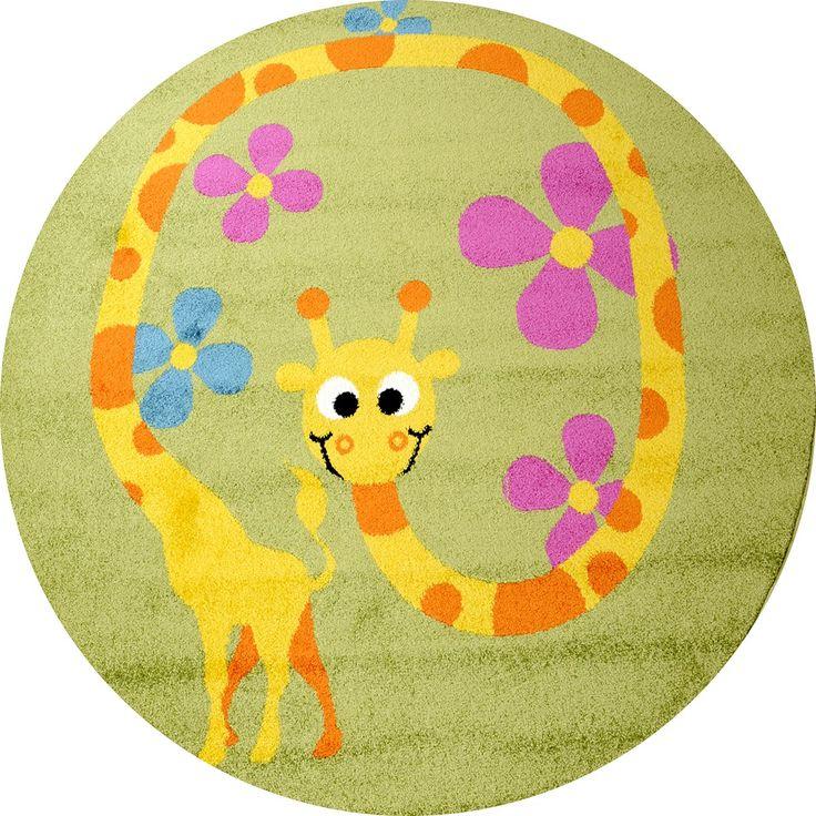 Cool Kinderteppich Happy Friends Giraffe gr n rund ab uac https