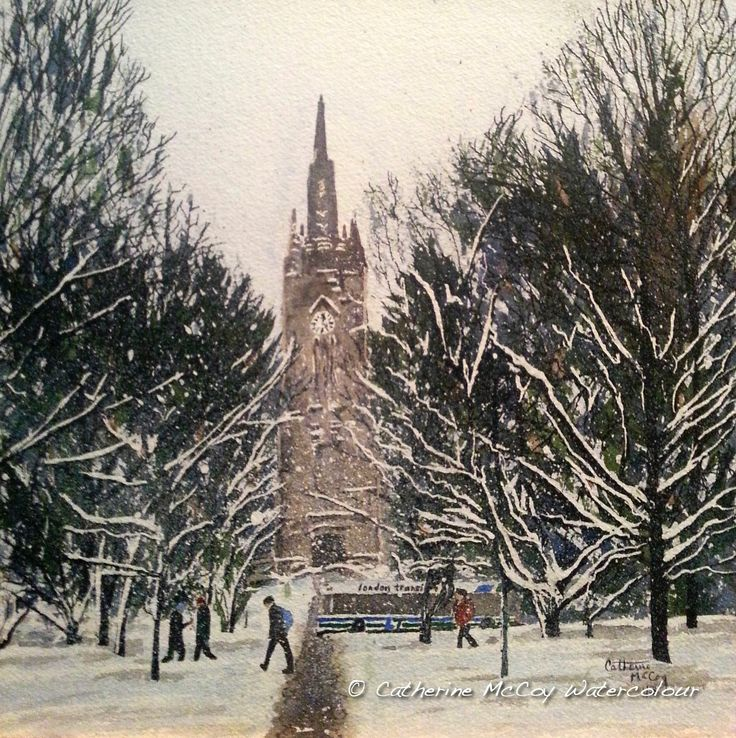 "UWO London ON Winter. Watercolour 12"" x 14"" by Catherine McCoy"