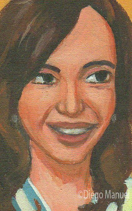 """Cristina Kirchner"",acrílico sobre lienzo, 17 x 15 cm, 2015. Cuadro en venta de la Serie Historia Argentina del artista plastico Diego Manuel"