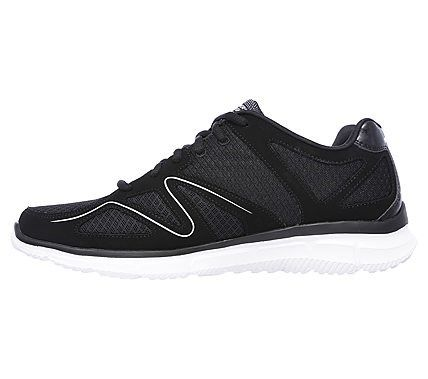 Skechers Men's Satisfaction Flash Point Memory Foam Lace Up Jogger Shoes (Black/White)