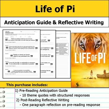 """Get students making """"big picture"""" connections with this Life of Pi anticipation guide and reflective writing.  This purchase includes a two page handout with quotes that relate to the text's theme.  Students are asked to respond by indicating whether they agree or disagree with the statement and then explaining their opinion."""
