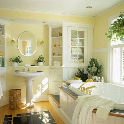 yellow bathroom. love the color with the white.                                                                                                                                                      More