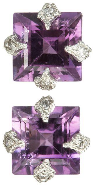 Cathy Waterman Diamond & Amethyst Stud Earrings